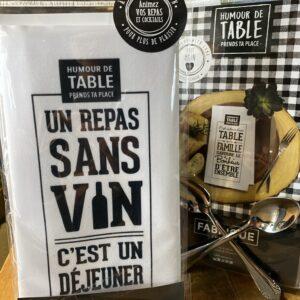 Serviette de table - Un repas sans vin